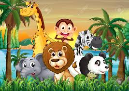illustration of a group of animals at the riverbank with coconut
