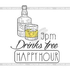 happy hour promotion sign design template vector clipart