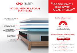 dhp furniture 8 inch gel memory foam mattress with certipur us