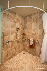 excellent glass block shower divider with white marble also brown