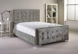 deldale velvet bed and mattress set silver velvet fabric from