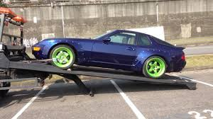 widebody truck loading wide body lsx porsche 968 with true flat bed tow truck