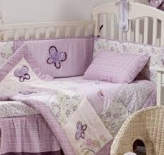 Lilac Damask Crib Bedding Furniture Nursery Pink Gray Butterfly Baby Bedding Damask