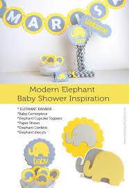 modern elephant baby shower inspiration u2013 grey and yellow elephant