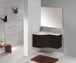 bathroom white corner vessel sink under wall cabinet mirror for