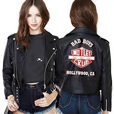 womens cropped leather jacket womens motley crue store