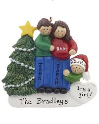 expecting family of 3 personalized ornament