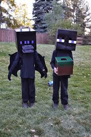 Enderman Halloween Costume Mom Twins