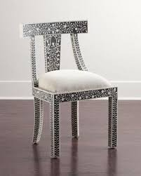Black And White Accent Chair Bone Inlay Black And White Accent Chair