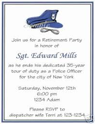 Retirement Invitation Wording 20 Custom Retirement Party Invitations Police Policeman