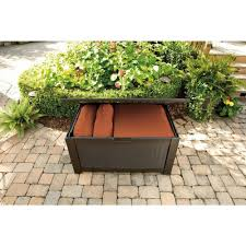 amazon com rubbermaid 93 gal resin patio storage bench deck box