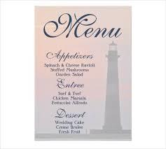 Buffet Menu For Wedding by Sample Menu Card Sample Event Menu Card 16 Event Menu Designs