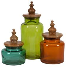 saburo glass and wood lid canisters 3 piece set traditional