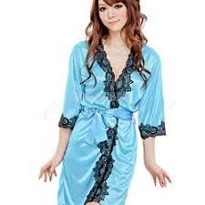 robe de chambre en satin de chambre satin bleu