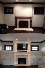 before and after built ins around our fireplace mix of white