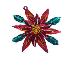 poinsettia punched tin mexican ornament handmade in
