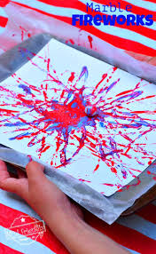 fireworks marble painting craft easy and fun activity for kids