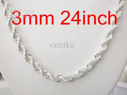 cheap silver chain necklace images Online cheap silver 925 3mm rope chain necklace vogue bling 925 jpg