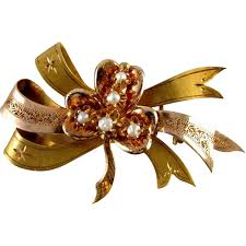 shamrock ribbon gold shamrock clover ribbon bow ribbon pearl pin brooch