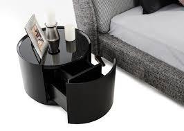 orca modern round dark oak glass top nightstand w drawer