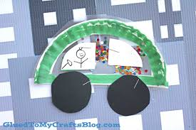 paper plate stained glass car kid craft glued to my crafts