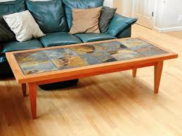 slate wood coffee table slate tile table finished with tapered end table legs skirting