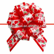 big present bow christmas decoration pull ribbon bow with printing fancy bow egg