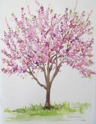 of watercolor cherry blossom tree visarts