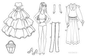paper dolls coloring pages funycoloring