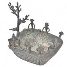 decorative tribal brass fishing pond with temple and tree