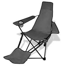 Collapsible Camping Chair Gray 2 Pcs Foldable Camping Chair With Footrest Grey Lovdock Com