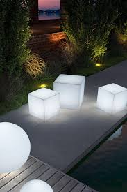 illuminated light cubes great to use outdoors as seating stools