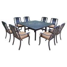vanguard 9 piece aluminum stationary square patio dining furniture
