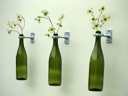 Wall Flower Decor by Nice Looking White Flower In Diy Green Bottle Wall Flower Vase