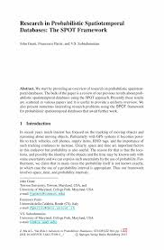 research in probabilistic spatiotemporal databases the spot