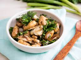 roasted potato and shallot salad with marinated mushrooms and kale