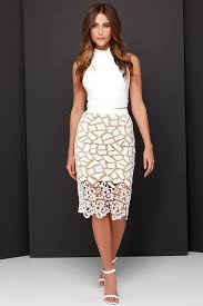 lace skirt pretty lace skirt midi skirt ivory and beige skirt 40 00