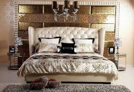 Transitional Bedroom Design With Beige Leather Bed Home Interior - Beige bedroom designs