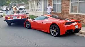 ferrari 458 speciale watch a mercedes benz 380sl smash up a ferrari 458 speciale while