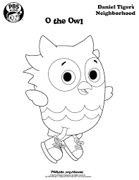 o the owl coloring page danieltiger wqed pbskids daniel