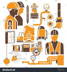 Industrial Theme by Manufacturing Industrial Engineering Management Icons Set Stock