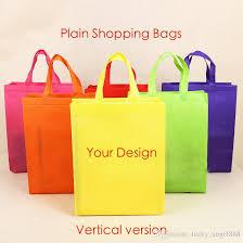 color plain non woven vertical version bags custom tote bags