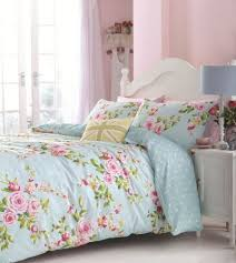superb cotton full pink blue rose floral reversible shabby duvet