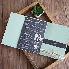 pocket invitations boho chalkboard jar green pocket floral ribbon wedding