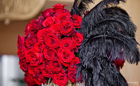 Wedding Feathers Centerpieces by Gatsby Wedding Red Roses Black Feather Centerpiece Gold Accents Us