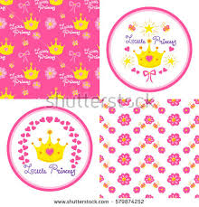 little princess pattern vector cute stock vector 569116063