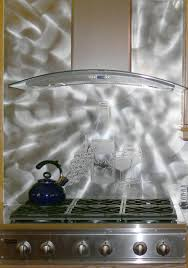 Kitchen With Stainless Steel Backsplash Amusing Silver Color Stainless Steel Kitchen Backsplash Featuring