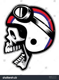 skull motocross helmet skull wearing old style motorcycle helmet stock vector 256255705