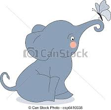 vector of elephant and butterfly postcard elephant and