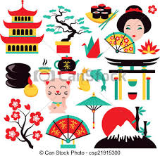 travel art images Japan symbols set with traditional food and travel icons vector jpg